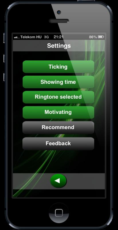 Settings screen of countdown timer HopHopClock