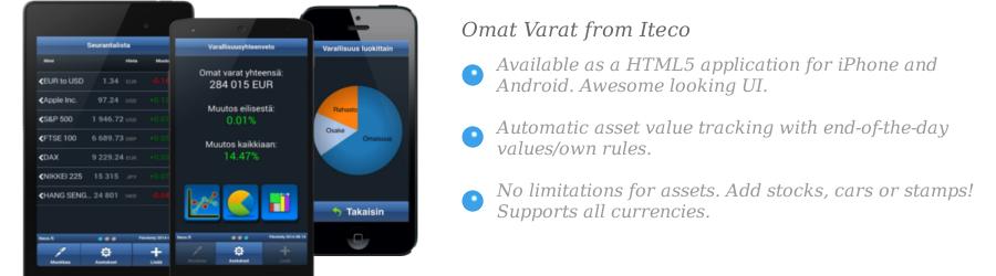 Omat Varat financial app front page slide image