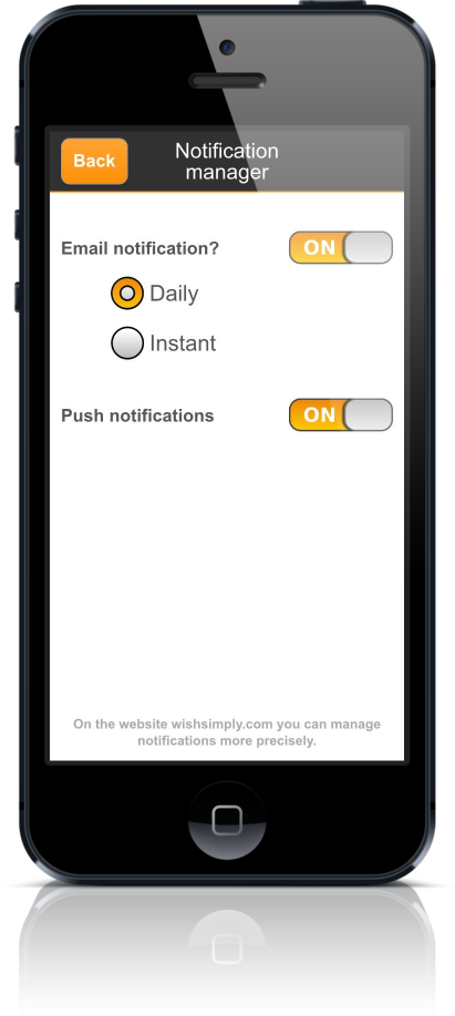 Wishlist app wishsimply notification manager scree