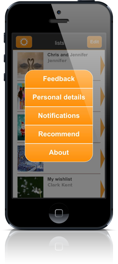 Wishlist app wishsimply settings screen