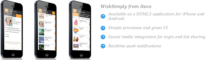 Front page slide of WishSimply app